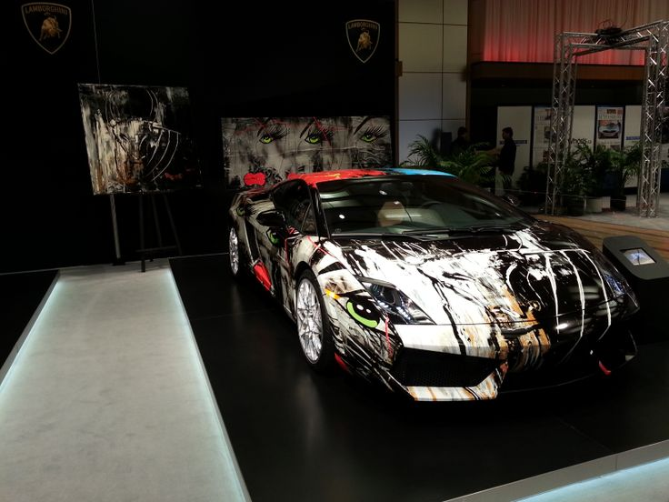 Lamborghini with wrap art created by Montreal artist Lisabel Filiatrault.