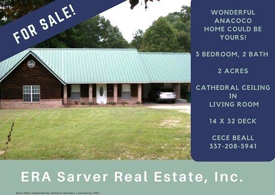 FOR SALE! Beautiful 3BR/2BA home on 2 acres of land featuring large cathedral ceiling in living room with open bar to kitchen, beautiful dark wood cabinets, gas stove, refrigerator, dishwasher and a breakfast area right off kitchen. Utility room and separate storage room off the carport. French doors open to a covered 14x32 deck. If that isn't enough--there's a play area upstairs for the kids! Exterior is brick/log wood siding/metal roof. Includes large storage shed outside. This is a must…
