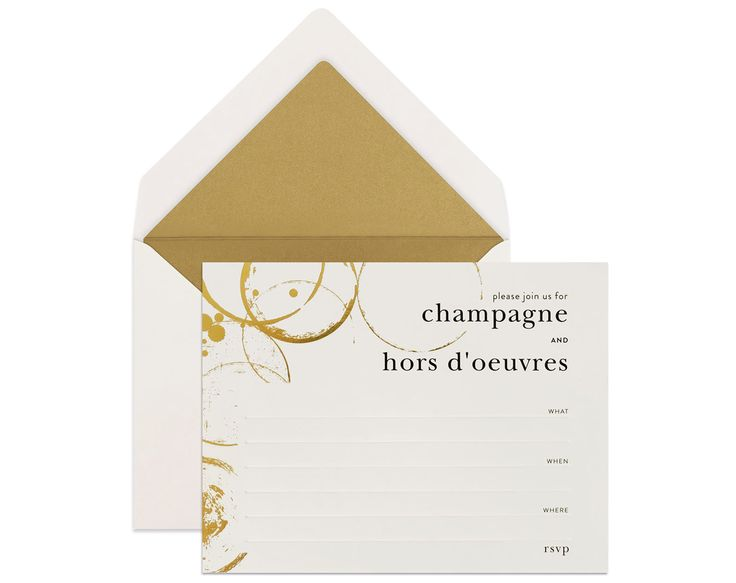 FILL-IN INVITES | Champagne & Hors d'oeuvres Invite Set. Playing hostess? show guests your stylish taste with this stunning invites that you can easily fill-in with computer and print with home inkjet printers / commission a calligrapher to write the details for you. x
