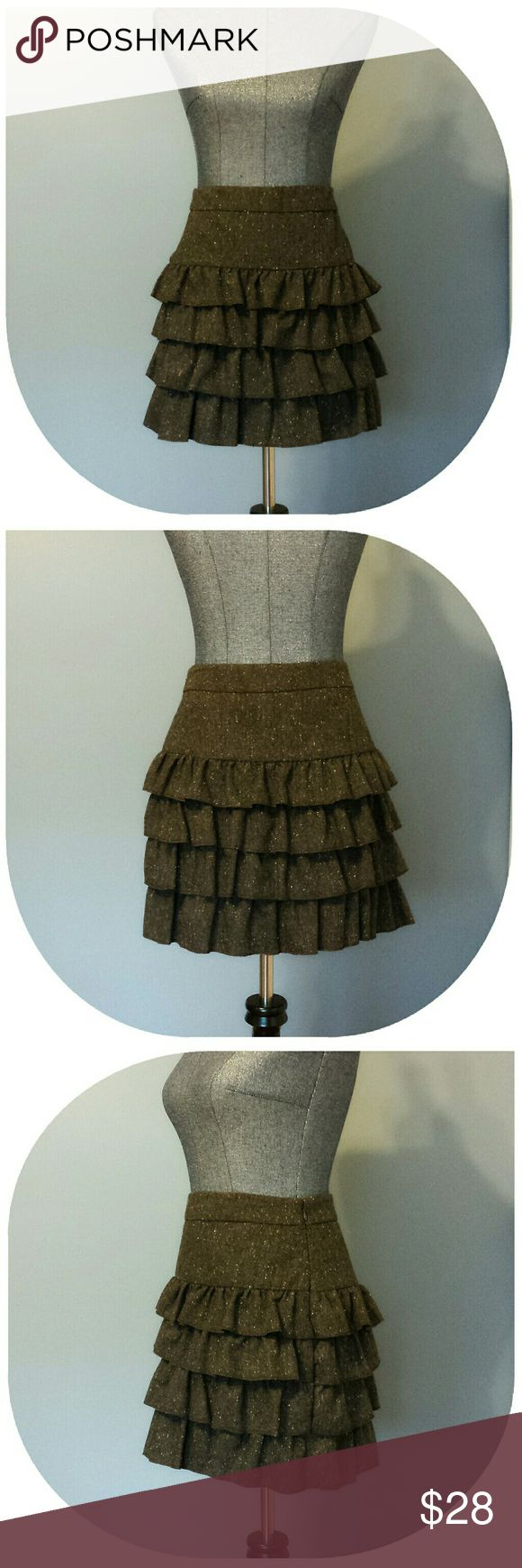 {Anne Taylor Loft} Brown Layered Skirt NEW WITH TAGS!  Great quality skirt by Anne Taylor Loft.  Four layers of beauty with a zipper side closure and hooked fastener.  Lined. Anne Taylor Loft Skirts