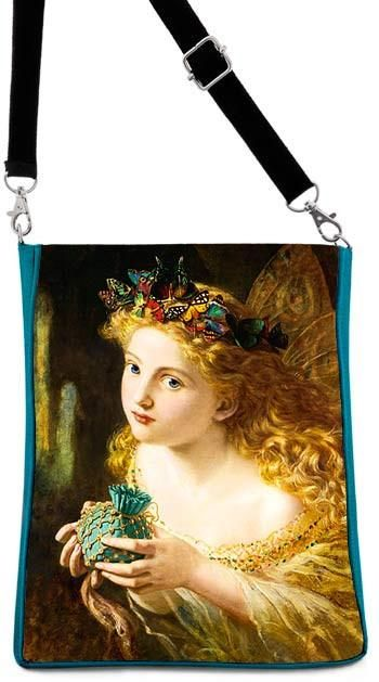Baba Studio - Shoulder bag- The Fair Face — Victorian fairy picture by Sophie Anderson, teal version
