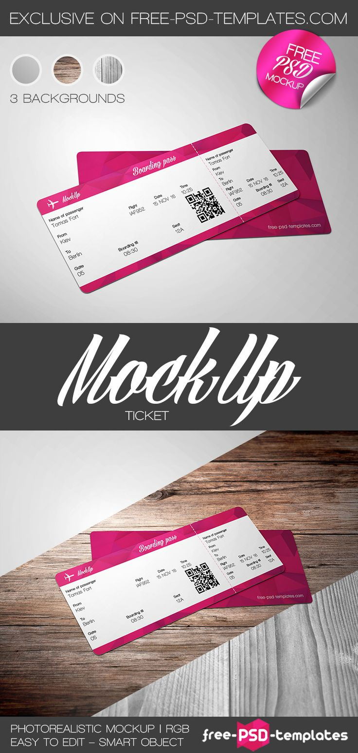 This is an awesome Free Ticket PSD MockUp Template for those who need an…
