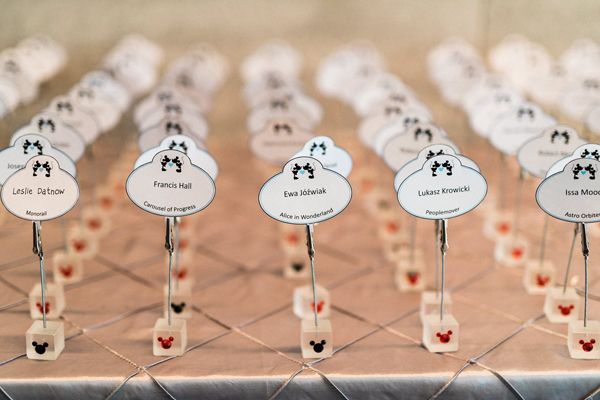 Mickey Mouse ear escort cards | Elegant Disney Wedding at Four Seasons Hotel Silicon Valley | Annie Hall Photography | See more on My Hotel Wedding: https://www.myhotelwedding.com/blog/2016/04/11/elegant-disney-wedding-at-four-seasons-hotel-silicon-valley/