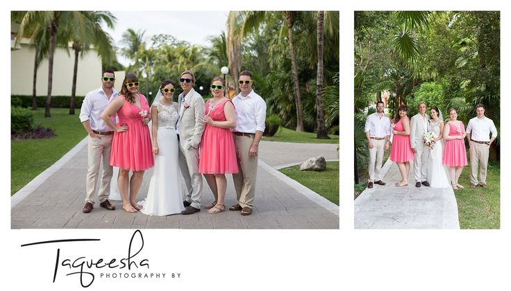 Coral and tan wedding colors for a beautiful destination wedding at the Grand Bahai, in the Riviera Maya  Photography by Taqueesha