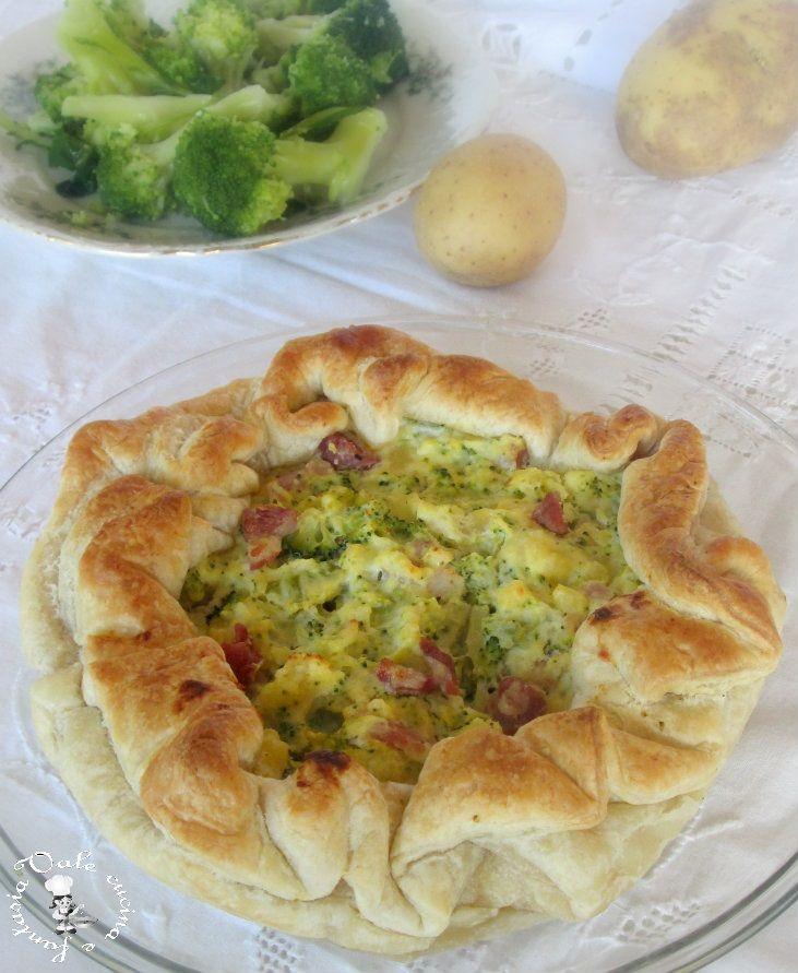 Torta rustica con broccoli,patate e pancetta