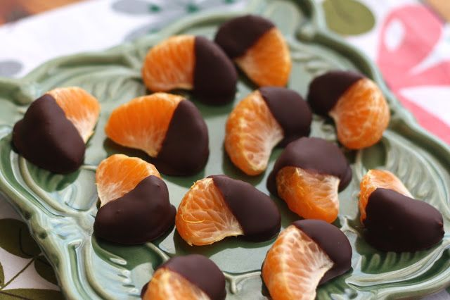 If you are dipping orange slices, dip them into the melted chocolate and then set on a parchment or wax paper lined tray. When all of the fruit is dipped, place the tray in the refrigerator for 15-20 minutes. Once the chocolate has hardened, transfer the oranges to an airtight container and refrigerate until ready to eat. They will keep this way for at least 2 days. Beyond that, I wouldn't know, because I haven't managed to make them last that long. Enjoy!
