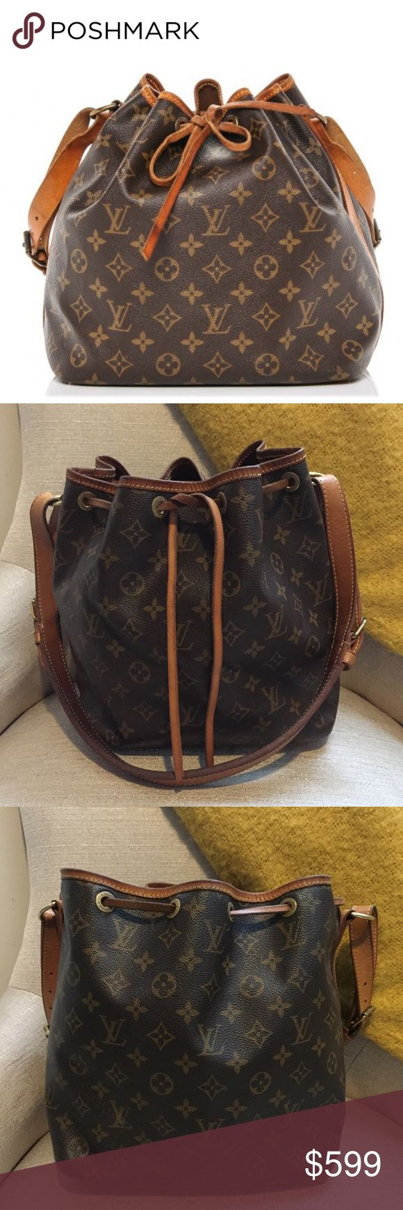 """•Louis Vuitton• Petite Noe Canvas Monogram Bag Louis Vuitton Petite Noe Canvas Monogram Bag. Authentic. Made in the USA. In Great Used Condition. The Leather is Super Buttery Honey Patina. Canvas is in overall great condition, Inside is clean, there is some scratching, minor cracking, water marks and signs of wear on the bottom, handle and leather side panels. Make on one corner. Please check photos. No Dust Bag or Box. Approximately 9.5"""" W x 10.2"""" H x 7"""" D ✖️NO TRADES✖️ Louis Vuitton Bags…"""