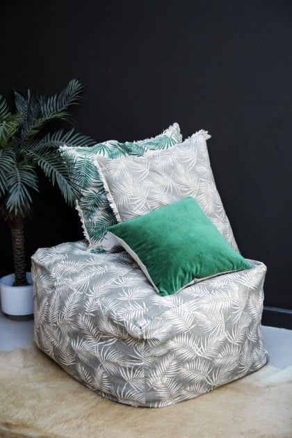 Palm Print Pouffe - Taupe - View All - Home Accessories