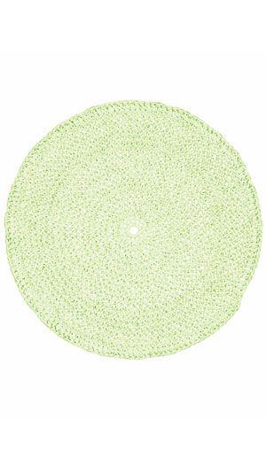 Hækleopskrift til en rund dækkeserviet hæklet i papirgarn. Perfekt til sommerbordet både inde og ude.