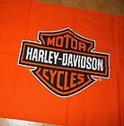 "19"" x 22"" HARLEY DAVIDSON FABRIC Orange Shield Logo - Cotton Blend - NEW! - #cotton, 19&quot, 22&quot+, BLEND, DAVIDSON, fabric, HARLEY, Logo, Orange, shield"