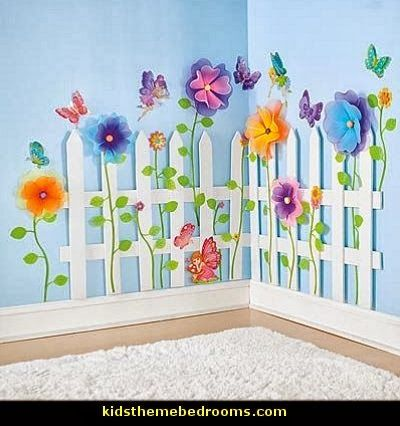 picket fence wall decor decorating butterfly garden themed bedrooms garden - Ideas For Bedroom Decorating Themes