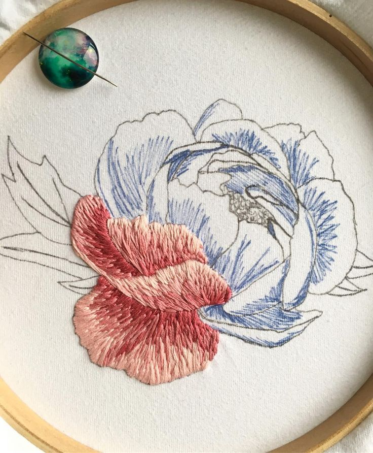 "548 Likes, 25 Comments - Kat - Pretty Little Needlework (@prettylittleneedlework) on Instagram: ""A slightly different view of my progress on the peony! Probably about 7 hours of work so far  …"""