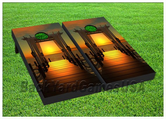 VINYL WRAPS Cornhole Boards DECALS Wedding Beach Ocean BagToss