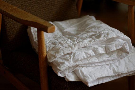 Soft white linen baby blanket Vintage Blanket for Kids