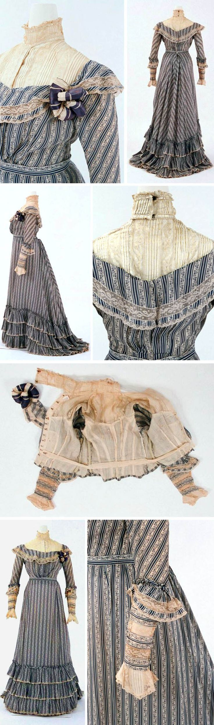 Day dress, American, ca. 1900. Printed cotton trimmed with lace; two pieces. Bunka Costume Museum