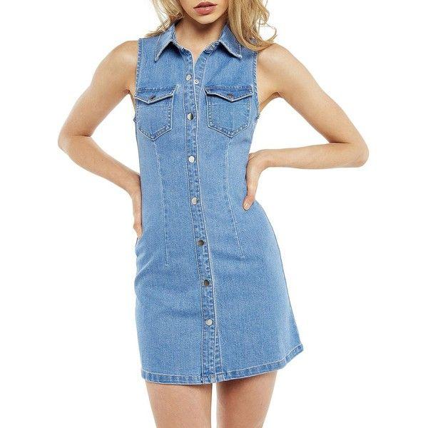 Bardot Erin Denim Dress ($99) ❤ liked on Polyvore featuring dresses, blue, sleeveless shirt dress, sleeveless dress, button down dress, denim shirt dress and sleeveless denim dress
