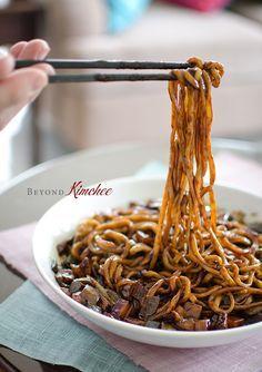 Jjajangmyun, the Korean-Chinese noodles with black bean paste
