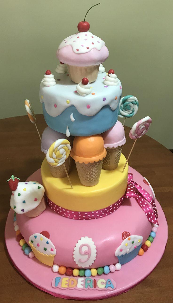 Torta tema cupcakes icecream cake