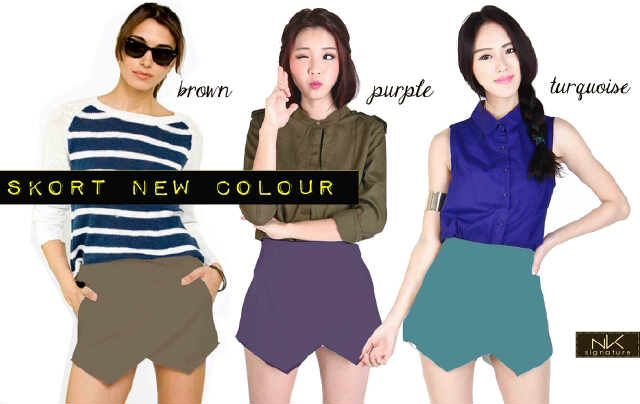 M-Skort New Colours , bahan cotton stretch, freesize 27-30, READY BROWN, PURPLE, TURQUOISE!!