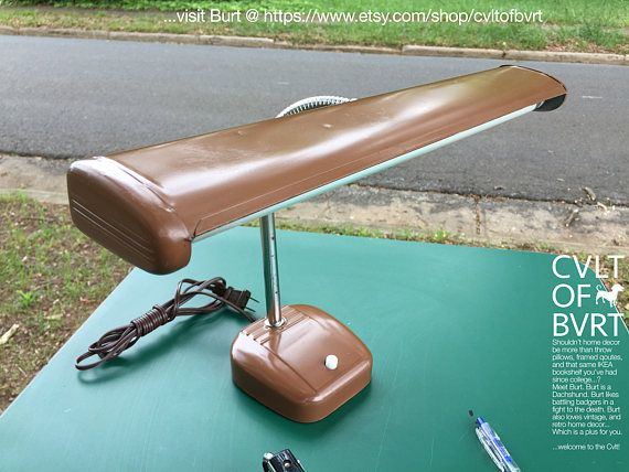 Vintage Desk Lamp - Brown Desk Lamp, 1950s, 1960s, Flexible Gooseneck Retro Brown Desk Lamp w/ Brand New GE Reveal Bulb - Tested / Works!!!