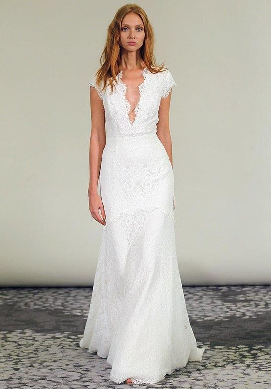 Plunging v neck lace sheath dress | Alyne by Rita Vinieris | https://www.theknot.com/fashion/adella-alyne-by-rivini-wedding-dress