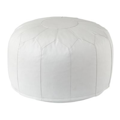 This Faux Leather Pouf (White) just got here from The Land of Nod! It will make a great ottoman for glider and additional seat in nursery. It's beautiful. :)