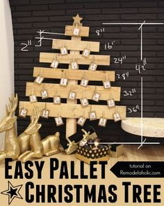 This pallet wood Christmas tree makes an easy advent calendar or card display. Using scraps of reclaimed or pallet wood means the cost is almost free, too!