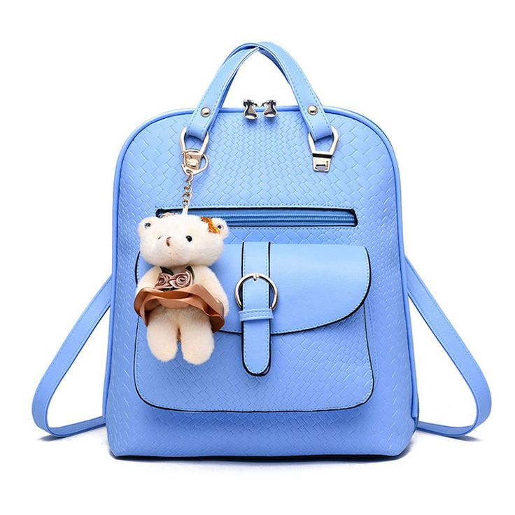 New 2016 Women Double Shoulder Backpack Fashion PU Leather Bag Bear Decorate Backpacks Solid Color Popular Backpacks