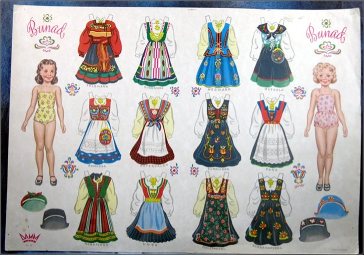 Norwegian Bunad Paper Dolls (2 of 10), 1950s: C & D