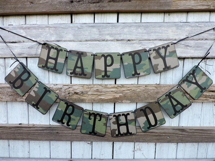 Camouflage Happy Birthday Banner Masculine Birthday by BannerBlitz