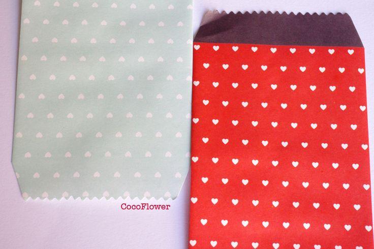 2 enveloppes couleur, emballage cadeau, pochette cadeaux , coeur, rouge menthe, enveloppe rectangulaire : Emballages, paquets cadeaux par cocoflower