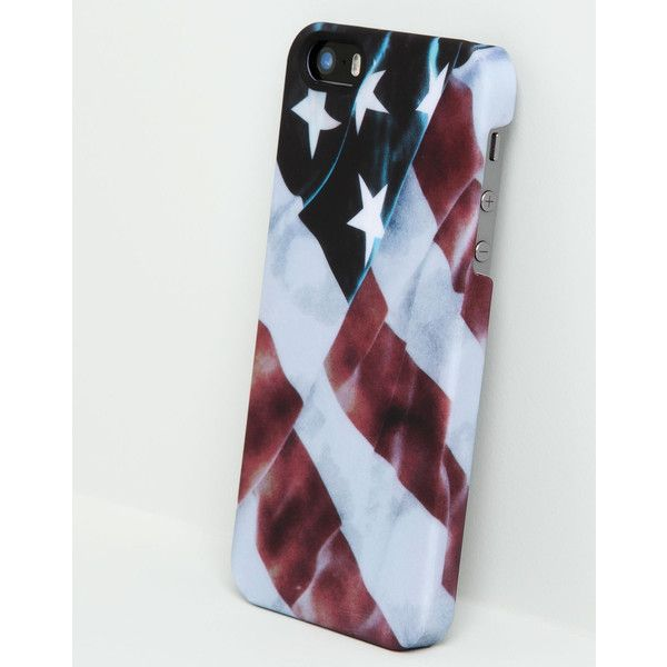 Pull & Bear Usa Phone Case ($4.88) ❤ liked on Polyvore featuring phone cases, accessories and blue