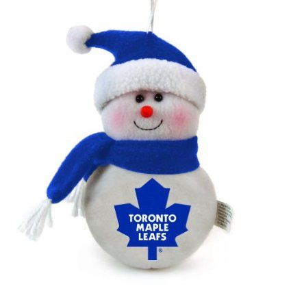 "Toronto Maple Leafs Plush Snowman Christmas Ornament 6"""