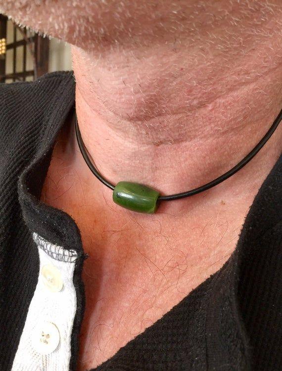 Men/'s Jade Choker Surfer Choker. Authentic Natural Canadian Nephrite Jade Pendant Mens Leather Cord Choker Canadian Jade Barrel Necklace