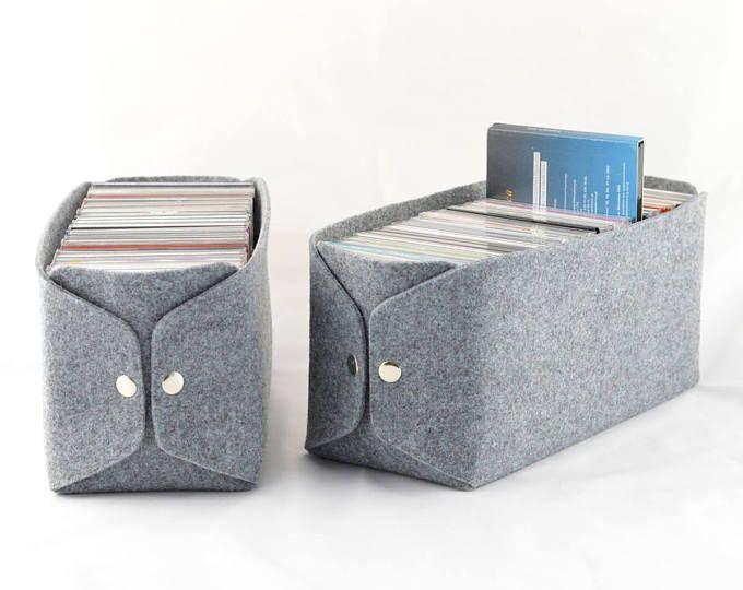 CD Storage basket, felt storage bin, felt bin, felt CD basket, CD storage box, cd storage bin, felt box grey, gray felt bin, housewarming
