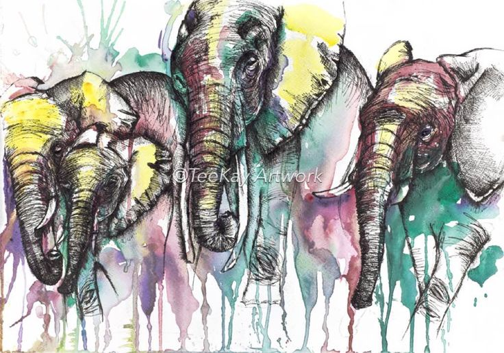 Teekay Artwork Elephants  original a3 matted in white with black frame.  Watercolour and fine liner.
