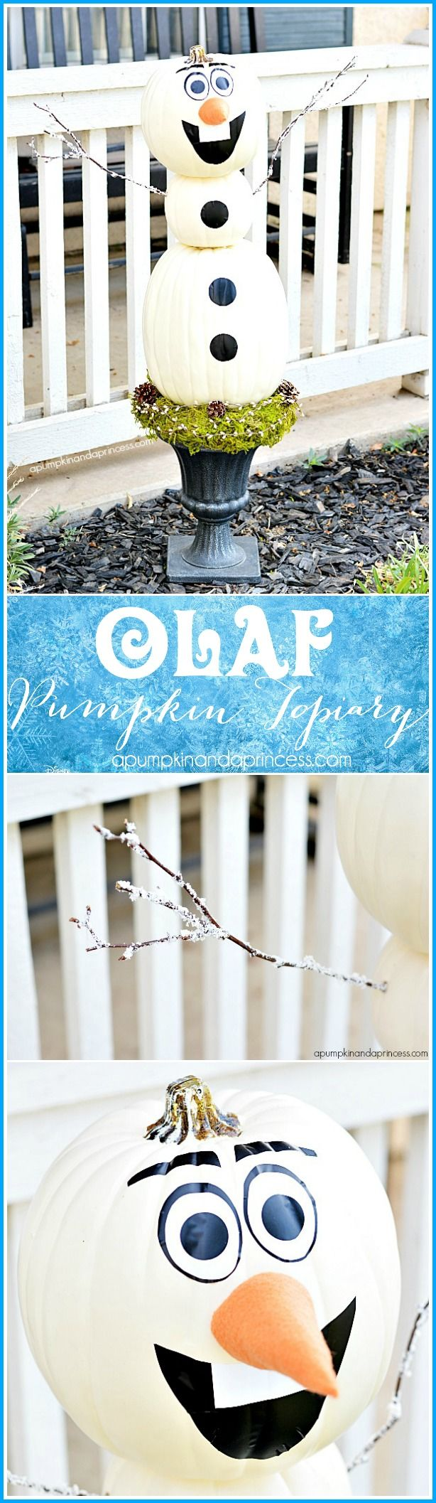 diy frozen olaf pumpkin topiary a pumpkin and a princess a way to use up those fall decorating pumpkins - Frozen Halloween Decorations