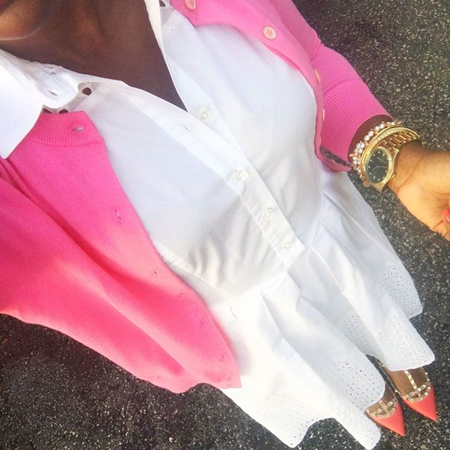 cute work outfit with eyelet work dress and jcrew cardigan business casual. Wome…