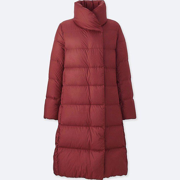 WOMEN LIGHTWEIGHT DOWN VOLUME COLLAR COAT, RED, large
