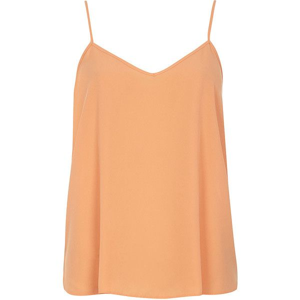 Dorothy Perkins Apricot V Front Cami Top ($14) ❤ liked on Polyvore featuring tops, orange, strappy top, strappy tank, strappy tank top, red camisole and red cami