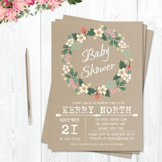 Rustic Baby Shower Invitation Printable Bridal by CutePaperStudio