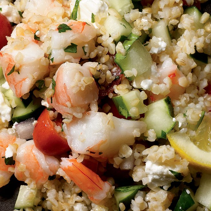Shrimp, Cucumber Salad With Feta  This Greek salad is a great source of vitamin K and omega-3s