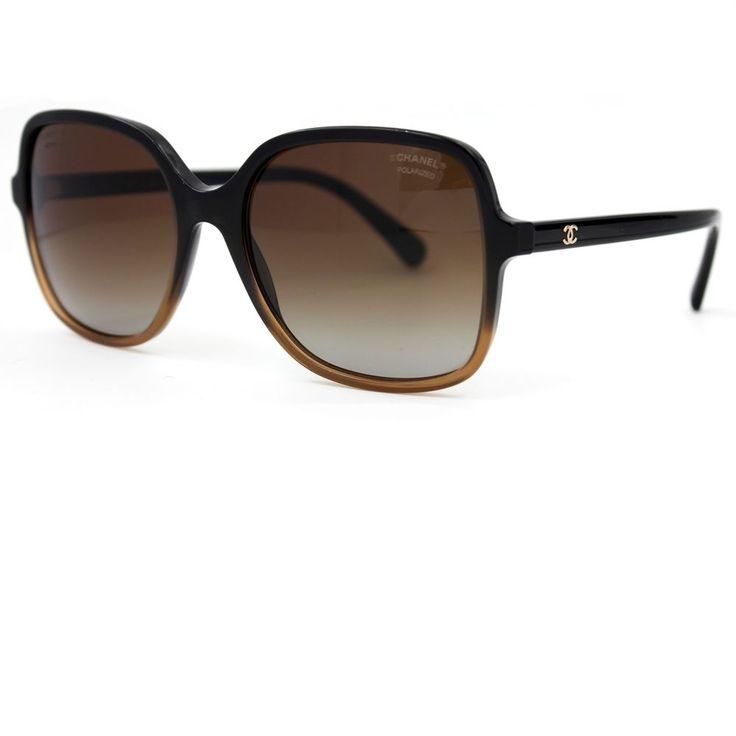 CHANEL Sunglasses Black/brown Square Summer Frame, Brown Polarized Lenses 5349 #CHANEL #Square