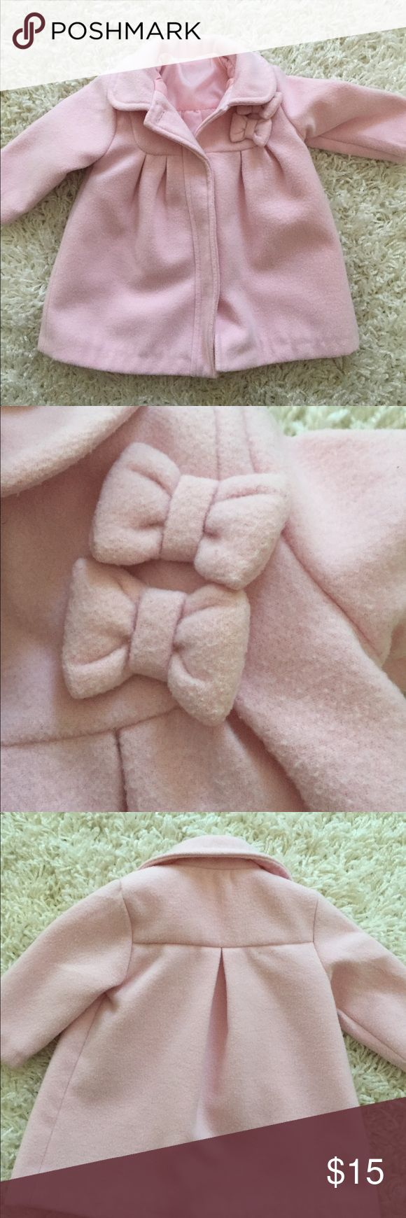 Pink Baby Girl Peacoat Adorable Peacoat for baby Girl. Size is 0 - 3 months but it fit my peanut up to 6 months. Has snap buttons and two bows up by the neck. In excellent condition. Jackets & Coats Pea Coats
