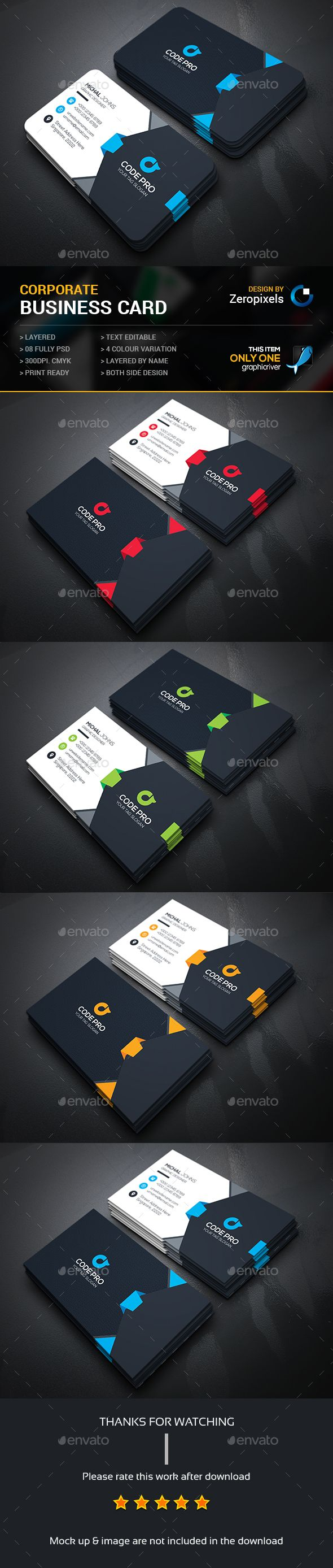 Corporate Business Card Template PSD. Download here…