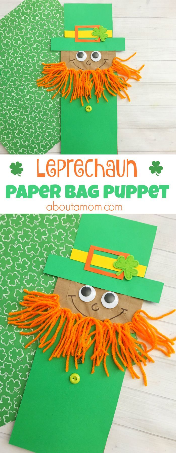 Celebrate St. Patrick's Day with the kids. Make this fun Leprechaun paper bag kid craft! #stpatricksday #kidsartsandcrafts