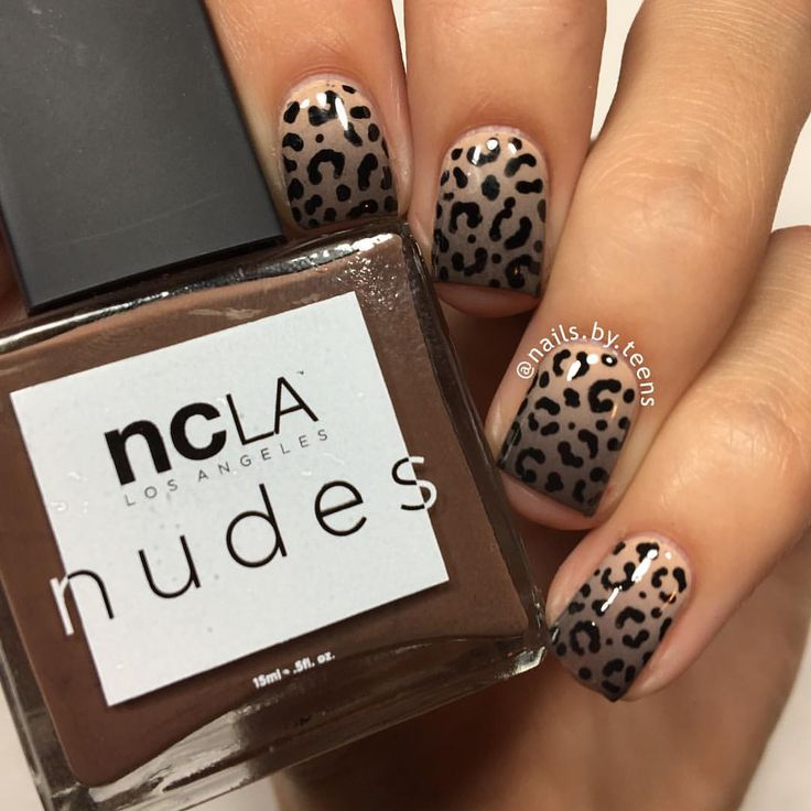 Roar Nude gradient + leopard print. Tutorial later Products used: @shopncla 'Volume I' 'Volume IV' 'Volume VI' @bundlemonster 'cuticle protector' Black acrylic paint Dotting tool Latex free make up sponge