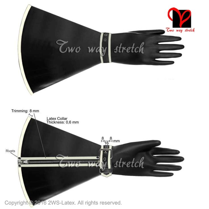 Black Sexy Latex Gloves with Zipper and belt  Rubber Mitten Gauntlet ST-031