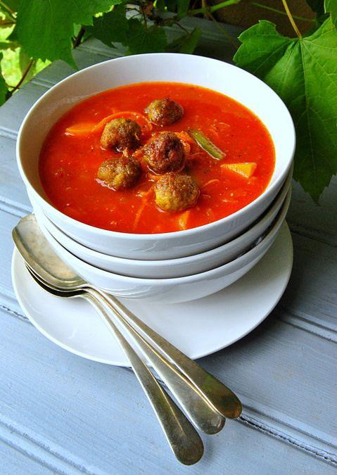 Chakalaka Soup with Little Boerewors Balls