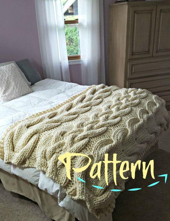 Chunky Oversized Cable Knit Blanket PATTERN par OzarksMomma sur Etsy